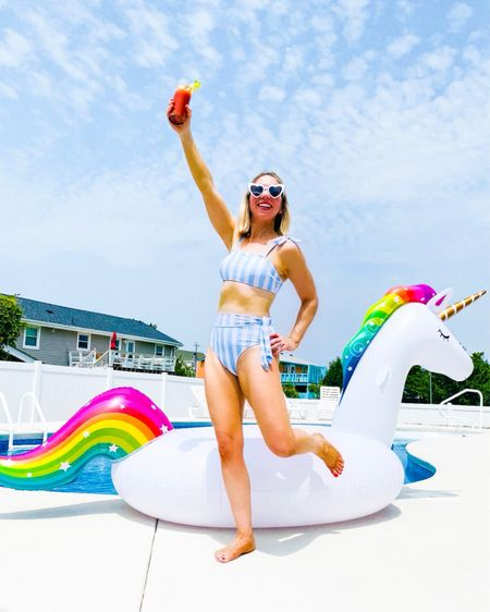 Every day can't be rainbows and unicorns, but today sure is!                   Vacation style / vacation outfit / beach vacation / pool float / two piece swimsuit / high waisted bathing suit / amazon fashion / amazon finds / amazon home / swim style / summer fashion / unicorn float / heart sunglasses / bathing suit / #ltkbeauty #ltkstyletip #ltksalealert #nsale / Nordstrom anniversary sale / #nordstrom           #LTKtravel #LTKunder50 #LTKswim  #LTKswim #LTKunder50 #LTKtravel