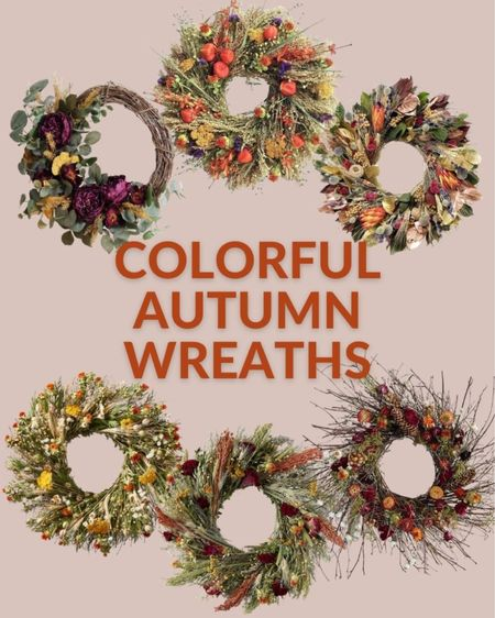 These colorful autumn wreaths are sure to impress your guests and spice up your fall decor this year. These are all nature inspired fall wreaths. Autumn wreath, fall wreath, natural fall wreath, colorful fall wreath, natural fall decor, fall decor  #LTKSeasonal #LTKHoliday #LTKhome