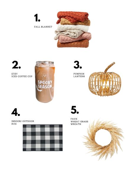 Last weeks top 5! Fall blanket, spooky season iced coffee cup, pumpkin lantern, checkered rug, fall wreath!   #LTKSeasonal #LTKunder50 #LTKhome