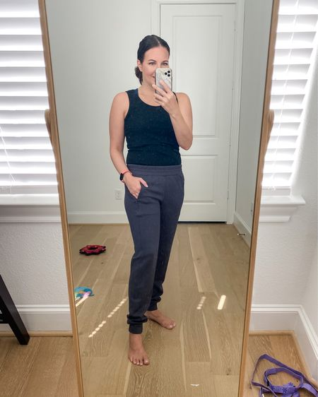 Loungewear / fall home outfit / athleisure / dark gray jogger pants with pockets (on sale /xs r) / black tank top / amazon fashion finds    #LTKsalealert #LTKunder50 #LTKunder100