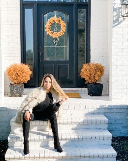 Fall vibes 100% ❤️ Yes I know my bushes are dead 🤦🏼♀️ I was so paranoid of killing them I think I overwatered them! 😭 Oh well they match the esthetic of the rug and wreath lol! 😆  Comment below is you want my #ootd details! ❤️ These are some of my favorite boots and leggings!!! The #fauxfur coat isn't bad either! Nice and cozy today!    #liketkit @liketoknow.it http://liketk.it/2Z7rq #LTKunder50 #LTKunder100 #LTKstyletip @liketoknow.it.home You can instantly shop my looks by following me on the LIKEtoKNOW.it shopping app