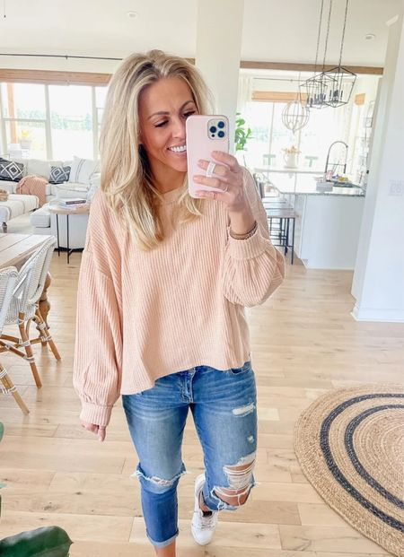 Waffle knit slouchy top  $24 Wearing medium Lots of colors! Easy fall outfit idea.   #LTKSeasonal #LTKstyletip #LTKunder50