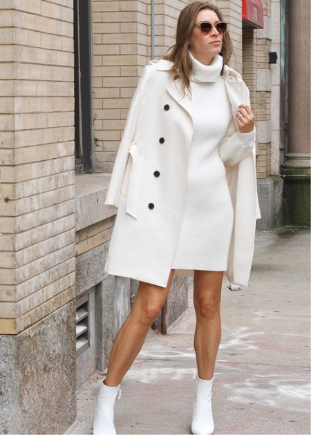 Turtleneck dresses are so convenient and cozy to wear during the chillier seasons. This white turtleneck dress looks great paired with other fall basics in my closet. | #turtleneckdress #trenchcoat #workwear #workoutfit #workinspo #officeoutfit #officeinspo #wintercoats #winterjackets #bestsellers #falldresses #cozydresses #seasonaldresses #JaimieTucker   #LTKworkwear #LTKSeasonal #LTKstyletip