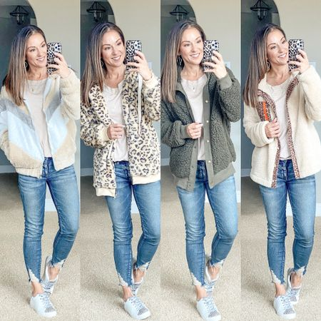 Fall jackets • amazon jackets • Sherpa jackets • shearling jackets • furry jackets • cozy jackets • all size small. Target sneakers run tts or size up 1/2 if in-between sizes. Jeans sold out. Top is amazon small   Fall style • fall fashion • fall sweaters  • petite style • petite fashion • mom style •easy outfit • comfy style • casual • everyday outfit• outfit ideas • mom style • petite  • affordable outfit   #LTKunder50 #LTKstyletip #LTKsalealert