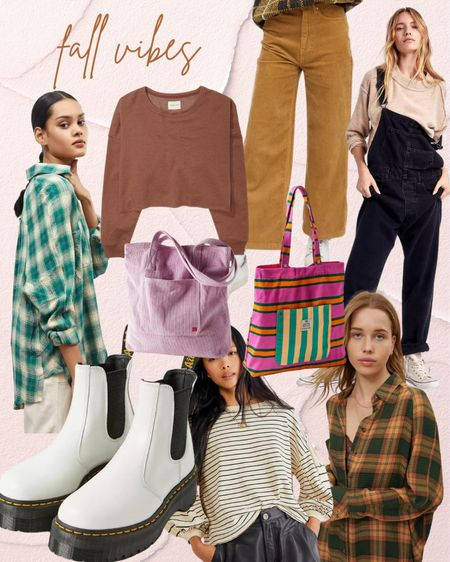 All the cozy fall vibes & textures Oversized flannel shirt Corduroy wide leg Tote bag Dr martens platform boots Overalls Black denim Outfit ideas for fall   #LTKstyletip #LTKSeasonal #LTKunder100