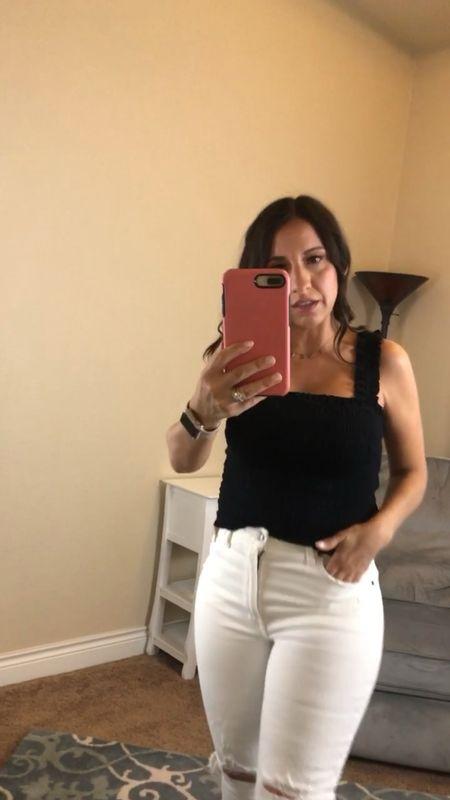 Abercrombie smocked Black tank top Abercrombie White Jeans. Love the fit.   #LTKunder50 #LTKsalealert #LTKSale
