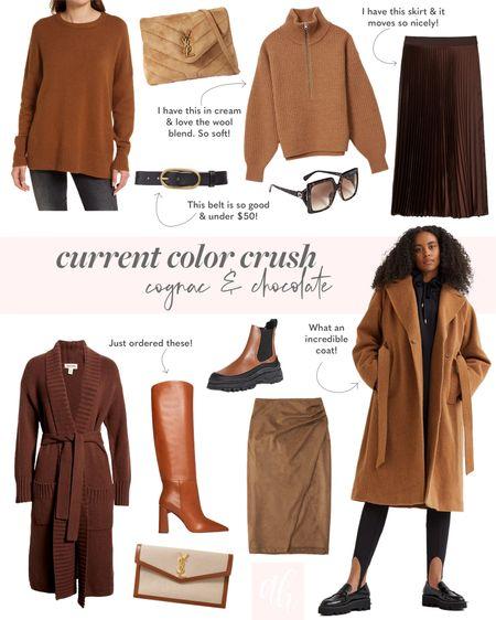 camel coat, cardigan, knee high boots, Chelsea boots, pleated skirt, designer handbag   #LTKSeasonal #LTKunder100