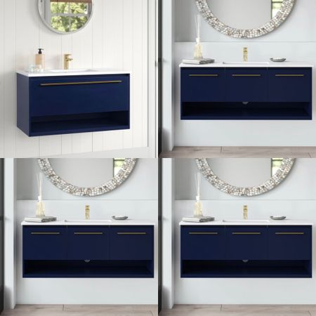 """Memorial Day Weekend Sale, Save Big— coming with 24"""", 40"""", 36"""" and 48"""", this stunning navy blue floating vanity with glamorous brass hardware will make your bath look super chic.    #LTKsalealert #LTKhome"""