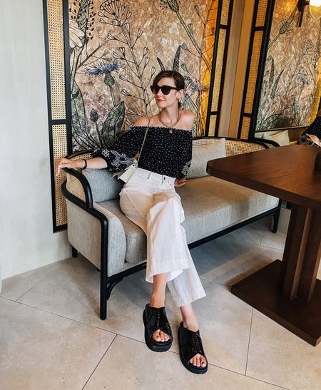 These white pants have been my summer go-tos and these awesome chunky slide sandals are currently on sale! #sandals #whitepants   #LTKtravel #LTKshoecrush #LTKsalealert