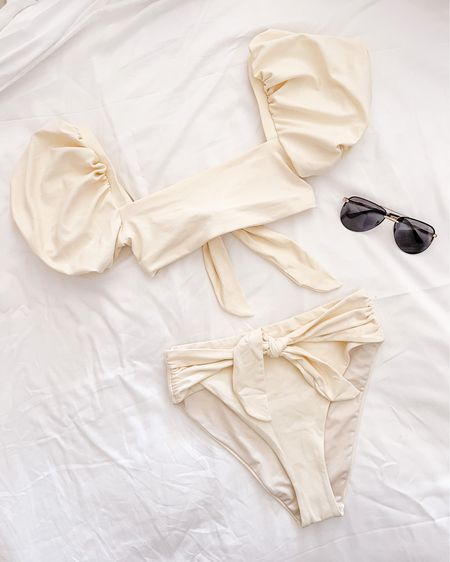 Today's swimsuit — from Amazon. Fits true to size. | amazon swim, amazon swimsuit, white two piece, white two piece swimsuit  #LTKunder100 #LTKswim #LTKSeasonal