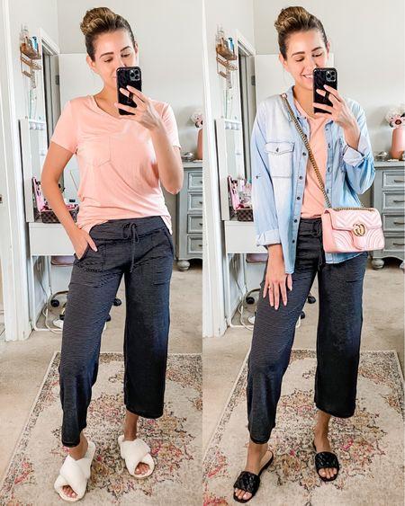 The most cozy lounge pants  Wide leg sweatpants  Black and white striped pants Dress up or down  #LTKfit #LTKsalealert #LTKunder50