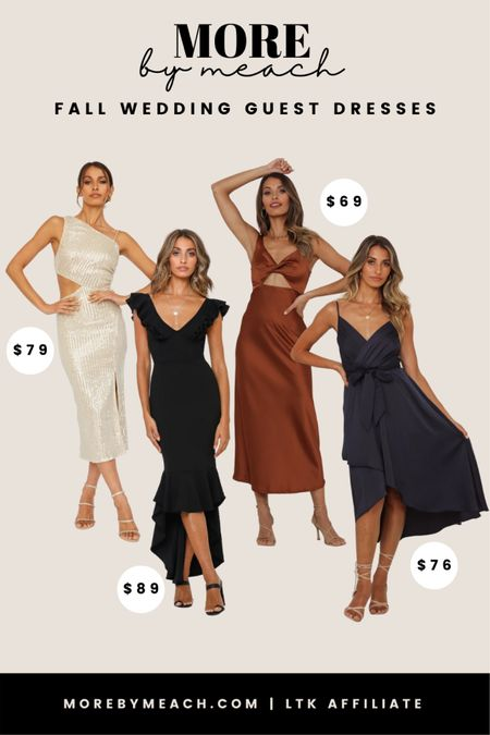 Fall wedding guest dresses under $100 from Hello Molly! || formal dresses, cocktail dresses, black dresses, satin dresses, navy blue dresses, rust dresses, champagne dresses   #LTKwedding #LTKunder100 #LTKunder50