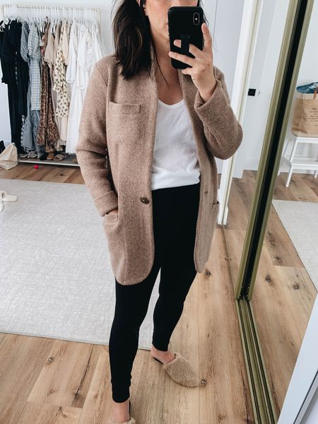 J.Crew cocoon sweater blazer. J.Crew coatigan. On sale!  Cardigan- J.Crew xxs Tank- Everlane xs Leggings- Ingrid & Isabel 1  Mules- Marc Fisher 5  #LTKshoecrush #LTKsalealert