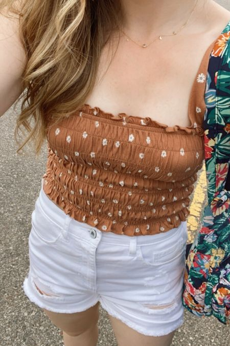 Sharing my casual summer ootd with white denim and this $7 smocked top