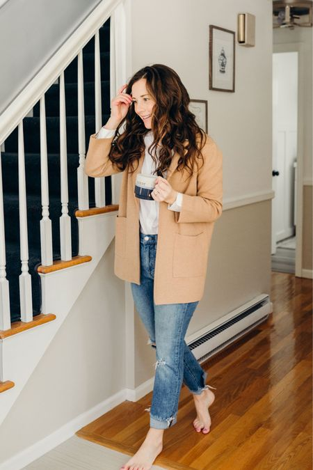 Sophie Blazer with Grayson White Button Up and JCrew Boyfriend Jeans with stackable coffee mug - easy work from home outfit http://liketk.it/38IaA #liketkit @liketoknow.it #LTKunder100 #StayHomeWithLTK