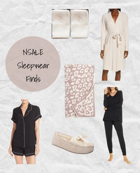 Nordstrom Anniversary Sale sleepwear: slip silk pillow cases, Barefoot dreams pink robe, Barefoot dreams pink and white blanket, Moonlight black pajamas shorts set, Minnetonka slippers, and Moonlight black pajamas set🖤💗 #nsale   #LTKsalealert #LTKhome #LTKtravel