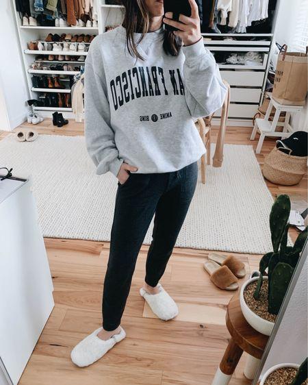 Anine Bing sweatshirt. San Francisco San Francisco sweatshirt.   Sweatshirt - Anine Bing xs Pants - Lou & Grey petite xxs Slippers - Jenni Kayne small   http://liketk.it/38pt5 #liketkit @liketoknow.it