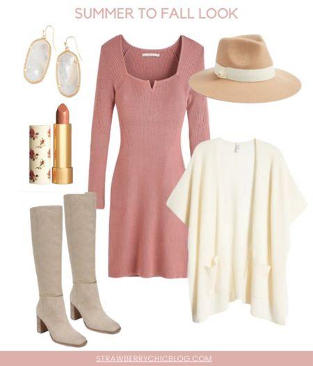 Summer to fall look- long sleeve dress with cardigan and boots   #LTKstyletip #LTKshoecrush #LTKSeasonal