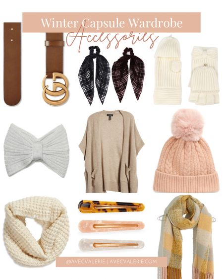 Winter is here! But the cold weather shouldn't stop us from accessorizing and looking cute. Some of my essential winter accessories are a Gucci GG Logo Buckle Leather Belt, Tasha scarf ponytail ties, Kate Spade mittens and a headband, a Halogen easy throw-on cashmere ruana, pom beanie, waffle stitch infinity scarf, hair clips, and a Madewell brushed scarf.  #LTKSeasonal #LTKstyletip