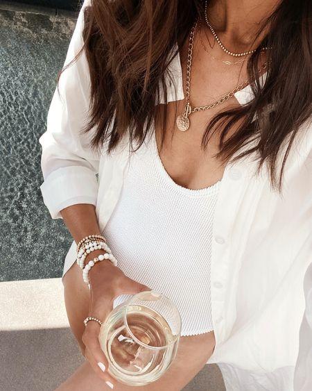 Jewelry you can live in, 14k gold filled jewelry, onyx bracelet, necklaces, beaded bracelets, resort style, vacation style, StylinByAylin   #LTKunder100 #LTKstyletip #LTKswim