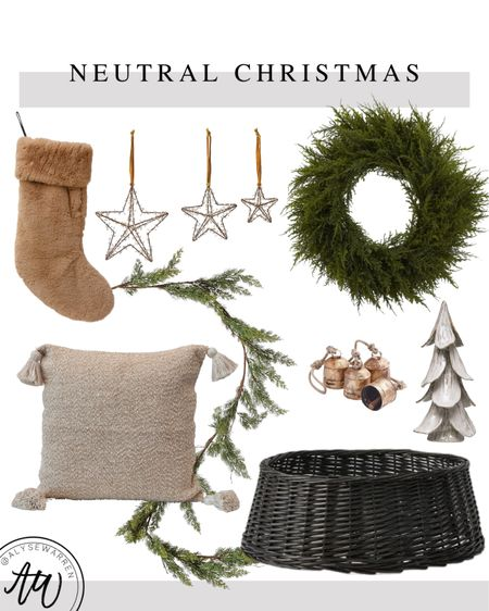 Neutral Christmas Decour, Amazon home finds, Amazon Christmas decor, home decor, faux fur stocking, star ornaments, faux cedar wreath, faux cedar garland, tassel pillow, couch, sofa, living room, bedroom, gold bells, Christmas tree, table decor, console table, entryway, rattan tree collar, modern rustic, Studio McGee inspired   #LTKHoliday #LTKhome