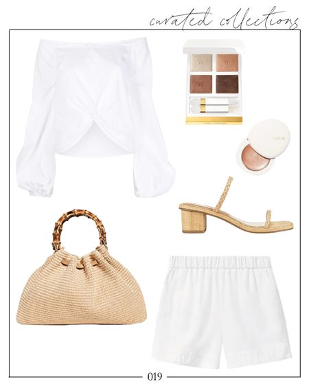 """Sometimes you just see something and know it's a winner, like this gorgeous date night blouse. It's a splurge but I linked a few at similar price points in the """"other"""" section. Love the off the shoulder detailing for summertime! I have a Caterina Bertini bag (not the one pictured), and I love it. Great quality and a reasonable price point.  #datenight #datenightoutfits #datenightoutfit #whiteblouse #whiteshorts #summerdatenight #wovenbag #datenightlook #allwhiteoutfits #allwhiteoutfit #offtheshoulderblouse #sexyblouse #feminineoutfits #datenightblouse #dressyshorts #dressyshortsoutfit #whiteshortsoutfit #revolve #revolveoutfits  Date night, date night outfit, date night outfits, summer fashion, summer date night outfits, white shorts outfit, date night blouse, off the shoulder blouse, woven bag, woven top handle bag, summer bags, Natalie Yerger    #LTKitbag #LTKSeasonal #LTKstyletip"""