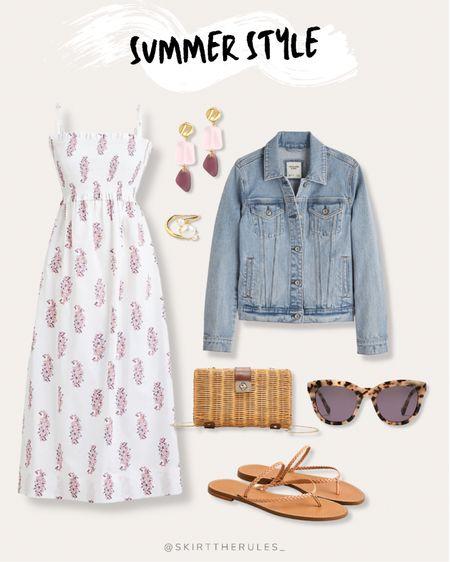 J.Crew, summer outfit, beach vacation, summer style, date night outfit, casual dress, summer dress: white smocked dress, paisley dress, midi dress, light wash denim jacket, pink gemstone earrings, tortoise sunglasses, rattan clutch, brown strappy slide sandals, pearl cocktail ring, pearl ring. @liketoknow.it http://liketk.it/3guZ9 #liketkit #ltkseasonal  #LTKunder100 #LTKunder50 #LTKstyletip