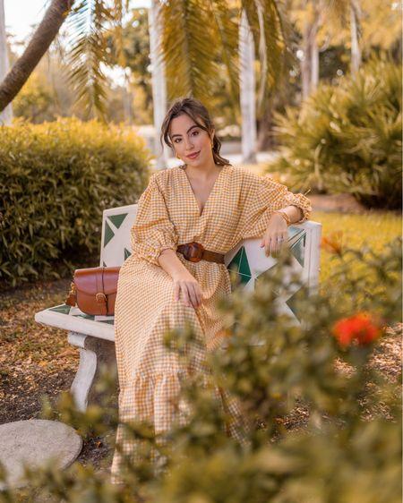Beautiful midi gingham dress, crossbody bag, also maternity friendly     #LTKstyletip #LTKunder100 #LTKbump