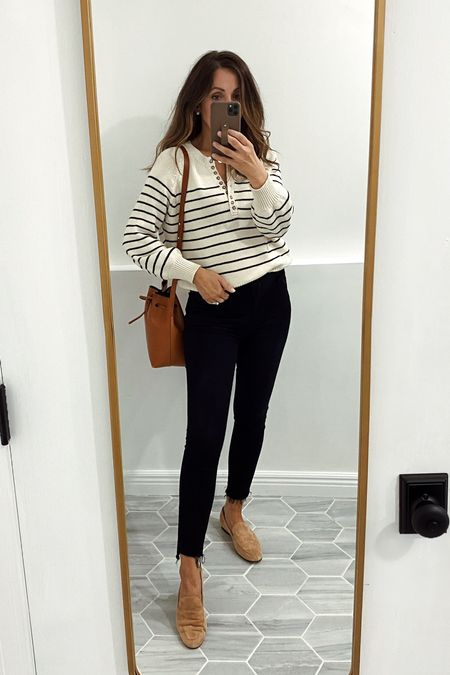 Wearing xs in the sweater. Jeans tts for me.
