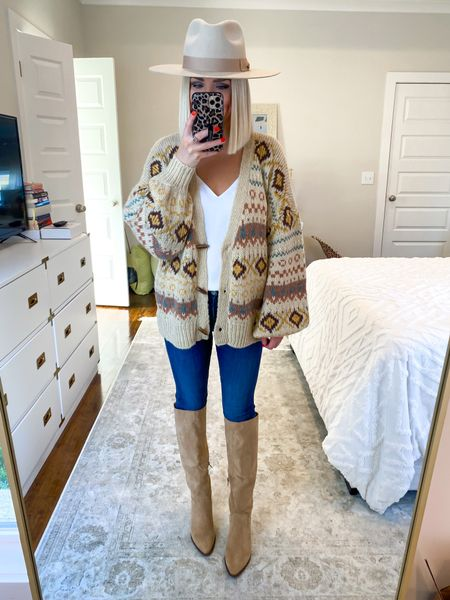 Cardigan outfit, fair isle cardigan! Jackson Hole outfit, fall fashion.. size: SM  Tan knee high boots! Affordable tan boots   #LTKHoliday #LTKSeasonal #LTKunder50