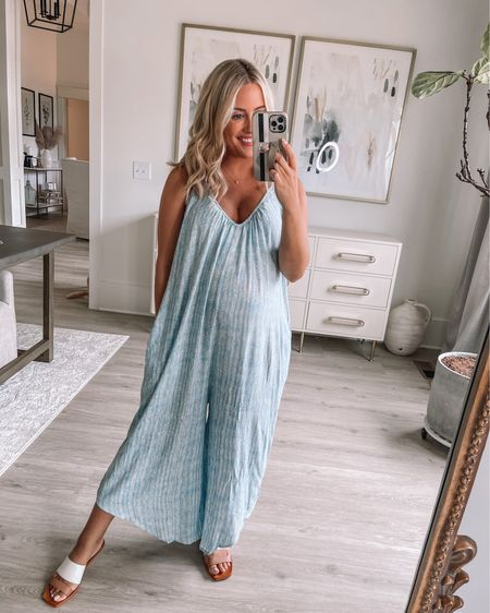 Wearing small in jumpsuit // small in bralette, sandals true to size (both 25% off today only with PINKLILYDAY) // maternity // postpartum // summer outfit // http://liketk.it/3i78A i @liketoknow.it #liketkit #LTKbump #LTKunder50 #LTKstyletip