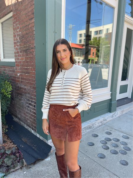 Stripe sweater, fall sweater and suede skirt for a cute fall outfit!   #LTKSeasonal