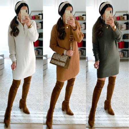 #ad @Nordstrom has so many amazing sweater dresses right now and they all ship for FREE! I'm wearing size small in all these dresses shown. We linked this gorgeous bag and OTK boots as well!   #LTKstyletip #LTKshoecrush #LTKitbag