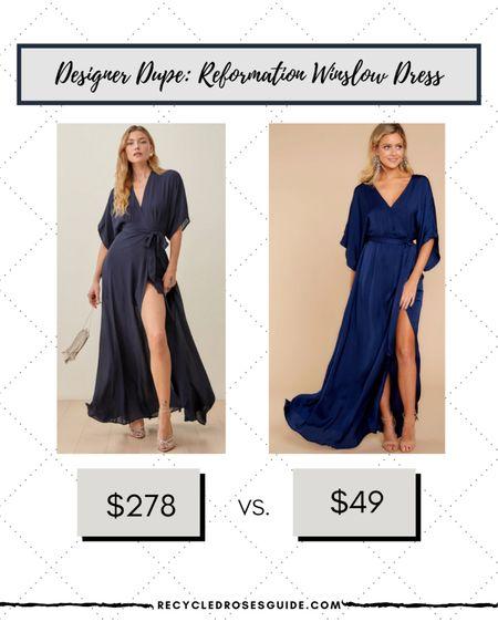 🚨DESIGNER DUPE: Reformation Winslow Dress- Under $50🚨 | Look for Less | Designer Dupe | Reformation | Red Dress Boutique | Designer for Less | Navy Dress | Under $50 | Under $100 | Wedding | Wedding Guest Dress | Maxi Dress | Navy Dress | Special Occasion Dress |   #LTKsalealert #LTKstyletip #LTKunder50