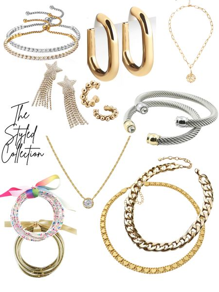 The styled collection finds! Great deals on amazing jewelry pieces!   Chain necklaces Layering necklaces  Bangles Ear cuffs Hoop earrings Jewelry for littles   #LTKsalealert #LTKSale