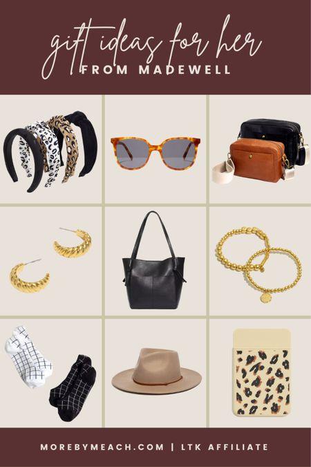 Gift ideas for her from Madewell: headbands, camera crossbody bag, black tote bag, gold earrings, gold bracelets, low socks, tortoise sunglasses, wide brim hat.   #LTKSale #LTKGifts #LTKHoliday