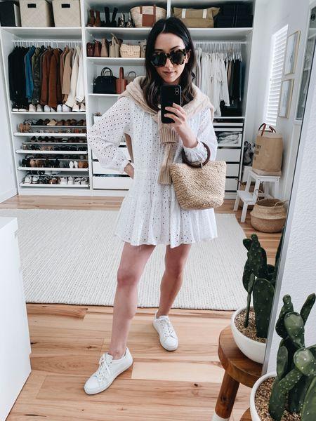 Little white dress. Petite white dress  Dress - ASOS petite 0 (old) Bag - Zara (old) Sneakers - M.Gemi 35 Sweater - Filoro Cashmere small  http://liketk.it/3eMMX #liketkit @liketoknow.it