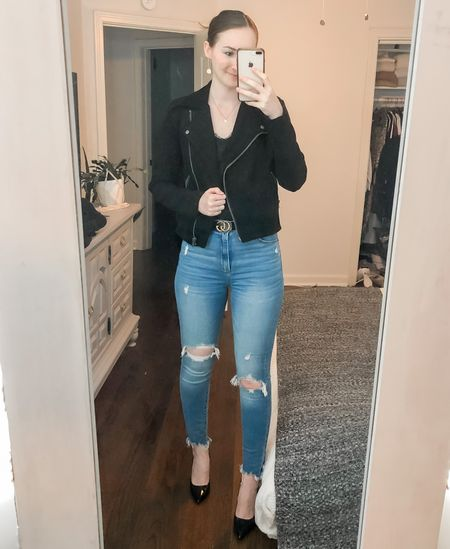 Date night, black suede moto jacket, black patent heels