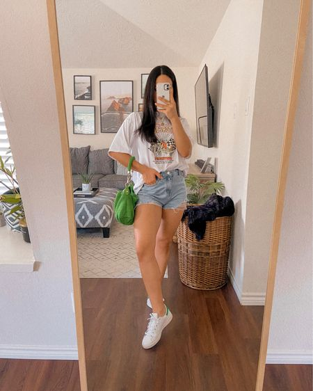 Coupon Codes: 15% off @sheinofficial - Q3YGJESS 10% off @aweinspired_ - JESSICAMELGOZA_10   Sneakers, adidas, tennis shoes, denim shorts, graphic tee, baggy shirt, casual outfit, school outfit, purse, gold jewelry   #LTKshoecrush #LTKbacktoschool #LTKSeasonal