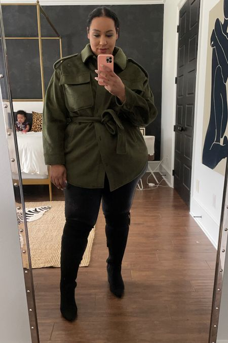 Loving this Shacket and boots from @walmart #ad #walmartfashion @walmartfashion fall, leather, boots    #LTKSeasonal #LTKunder100 #LTKcurves