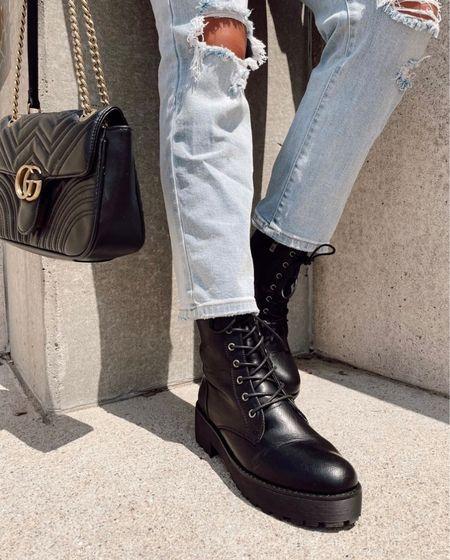 Black booties, black boots, boots, combat boots, denim, ripped denim, jeans, ripped jeans, light wash jeans, Gucci bag, Gucci, designer handbags, Gucci handbag, fall outfit, fall clothing, fall outfits  #LTKsalealert #LTKshoecrush #LTKstyletip