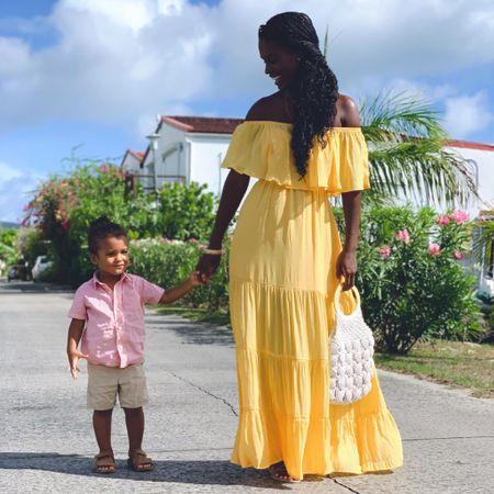 Dress like sunshine  Maxi dress, yellow, sale, off shoulder  #LTKunder50 #LTKsalealert #LTKfamily