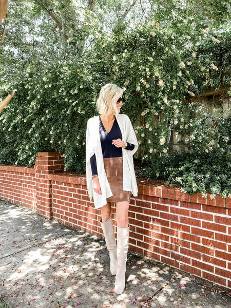 Love a suede skirt with knee high boots for the fall!   #LTKsalealert #LTKstyletip #LTKunder100