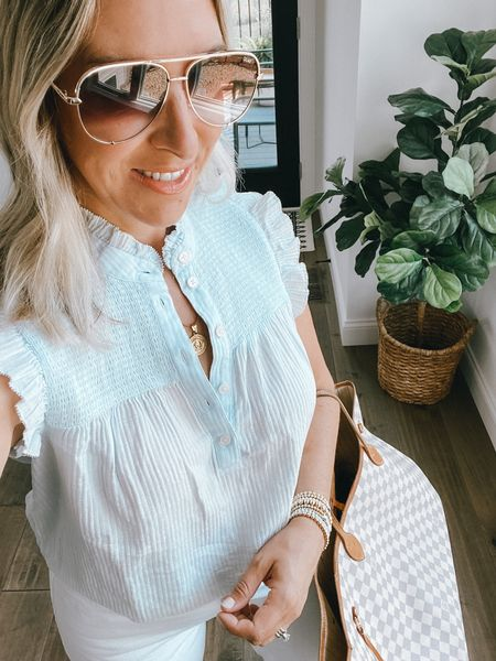 JCrew Tank with smocking and ruffle sleeve. The perfect summer top. Runs large, size down. Comes in multiple colors.   Gold coin necklace  Quay aviator sunglasses  Summer outfit, mom look, girls night out, JCrew, smocked top  #LTKworkwear #LTKstyletip #LTKunder100