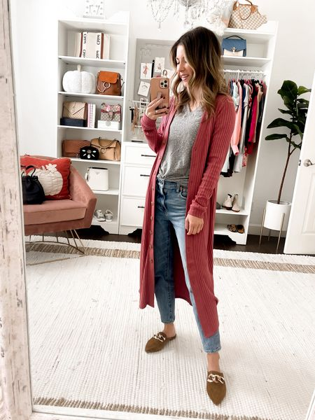 Ribbed dress turned into duster cardigan with jeans also comes in black wearing size xs