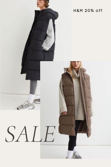 H&M 20% off sale puffer vest, long puffer vest, fall, winter, coat, outerwear   #LTKunder100 #LTKsalealert