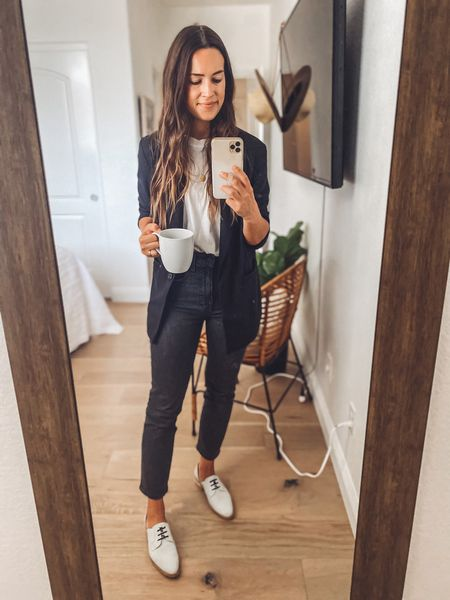 Linking a similar blazer since mine is old. Shoes run small so I went up 1/2 size. Use NATALIEB15 for 15% off your first Freda Salvador order.   #LTKshoecrush #LTKsalealert
