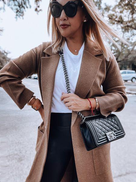Coatigan, long sweater coat, Spanx faux leather leggings, Chanel boy bag, veja sneakers   #LTKitbag #LTKSeasonal #LTKshoecrush
