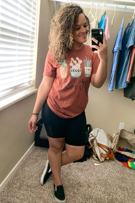 It's a comfy Saturday over here so I'm rocking my favorite #bikershorts from Fabletics & my #SucculentPothead tee from @Simplymadisynndesigns on Insta😍 both so cozy & true to size!  My vans are my absolute fav and something I wear daily, so 10/10 recommend!  I'm wearing a size 9, TTS😌🙌🏼 You can shop the shirt at www.simplymadisynn.com/designs and use code TWOPIECE for $5 off two shirts and use code TRIPLESET for $10 off three shirts😌💕  • • You can instantly shop all of my looks by following me on the LIKEtoKNOW.it shopping app @simplymadisynn 💕 http://liketk.it/2WpK7 @liketoknow.it #liketkit #LTKsalealert #LTKunder50 #LTKshoecrush #Fabletics #ShopSimplyMadisynn #ShopSmall