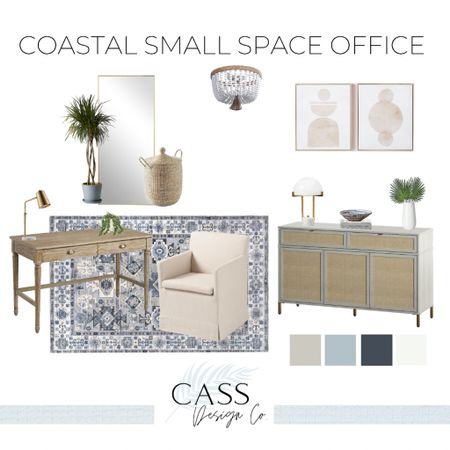Small space office Work from home Home office Coastal decor  Coastal home office Coastal interiors Coastal home decor Coastal design Home office design Modern office decor